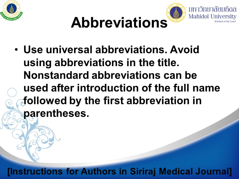 [Instructions for Authors in Siriraj Medical Journal]